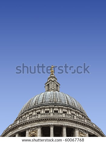 Dome of St Paul's Cathedral. Clear sky. HDR image with plenty of copy space.