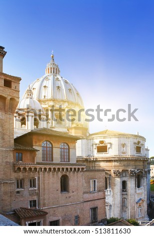 Dome of St Peter's Basilica. Vatican.