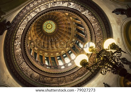 Dome of State Capitol Building. Springfield, Illinois, USA.