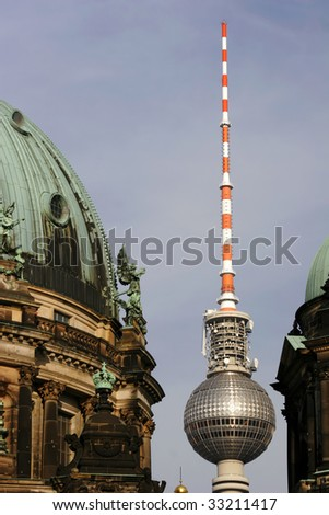 Dome of the Berlin Cathedral (Berliner Dom) and the TV Tower in Berlin, Germany