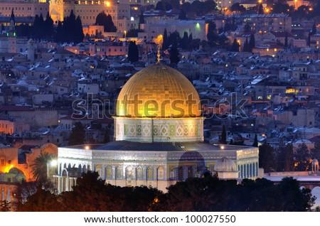 Dome of the Rock along the Skyline of Jerusalem, Israel.