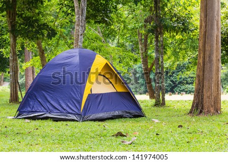 Dome tent camping at Bang Krang Camp in Kaeng Krachan National Park, Thailand