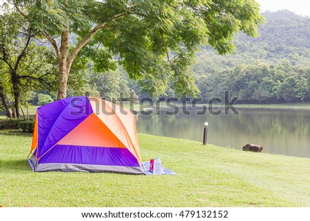 Dome tents camping of tourist in forest camping site #479132152