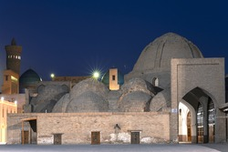 Domed bazaar in Bukhara, at twilight, Uzbekistan