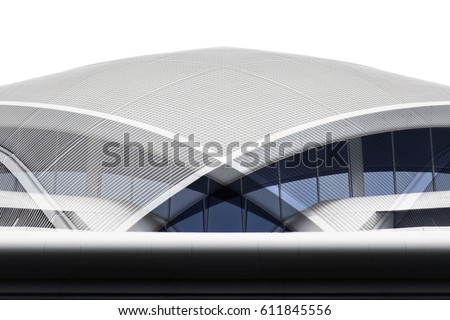 Domed roof in shades of metallic blue and gray colors. Reworked close-up photo of modern architecture fragment. #611845556