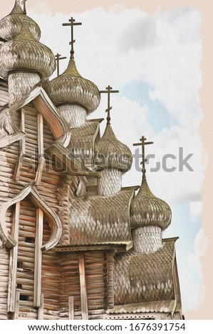 Domes  famous wooden Church of the Transfiguration in the architectural museum on Kizhi Pogost. Oil paint on canvas. Picture with photo, imitation of painting. Illustration