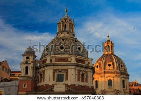 Domes of church in old Rome #657040303