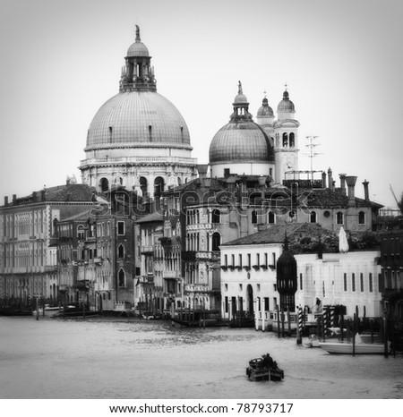 Domes of La Salute church in Venice. Black and white.