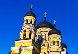 Domes of Monastery Hincu from Moldova . Crosses on the cupolas . Place of worship