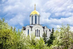 Domes of the Orthodox Church with crosses against the background of blooming apple trees