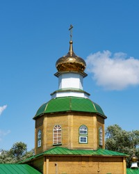 Domes with crosses, the top of the church is turned to the east. Orthodox Christian religion.