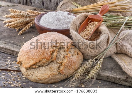 Domestic and healthy bread made up of whole grain flour