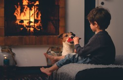 Domestic dog fetches slippers to young owner and blazing fireplace at background