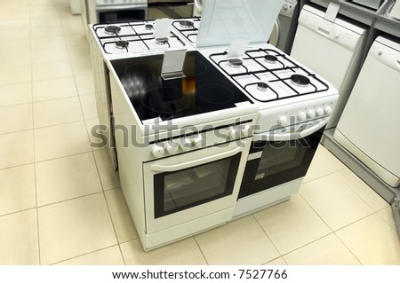 Domestic equipment (washing machines and gas stoves) arranged in the store