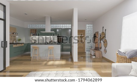 Domestic Kitchen Inside an Open Plan House in Broad Daylight 3D Rendering Photo stock ©
