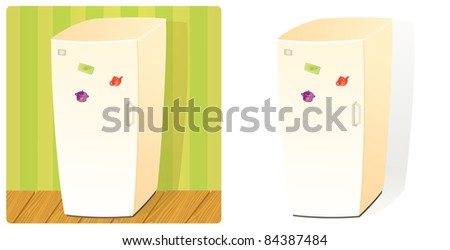 Domestic Refrigerator with One Door and Three Magnets. Stuff Collection (Raster version).