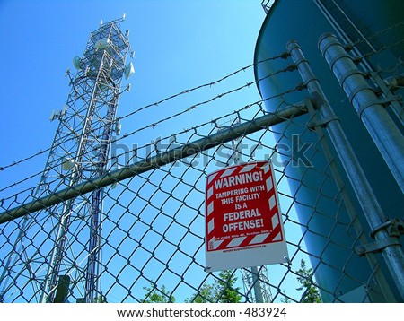 Domestic Terrorism Targets, Warning sign, Barbed wire fence, towers