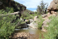 Dominguez Canyon in Western Colorado is an excellent place for hiking, camping and backpacking. Trails wind through swimming holes, creeks, red canyons and waterfalls.