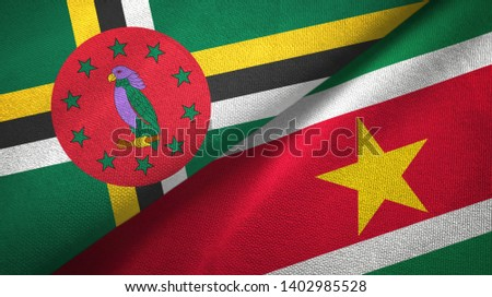 Dominica and Suriname two flags textile cloth, fabric texture #1402985528