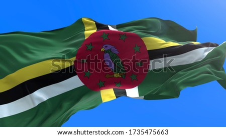 Dominica flag - 3D realistic waving flag background Stockfoto ©