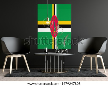 Dominica Flag in Room, Dominica Flag in Photo Frame #1479247808