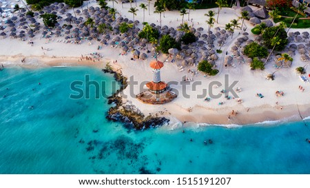 Dominican Republic Bayahibe beach Lighthouse aerial photo by drone. Crystal clear sea with beautiful beach. - Image