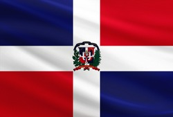 Dominican Republic flag with fabric texture