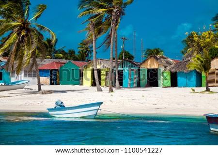 Dominican Republic, Saona Island - Mano Juan Beach. Fishermen's village