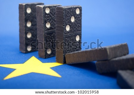 Domino Effect - Financial Crisis in European Union - Shallow Depth of Field