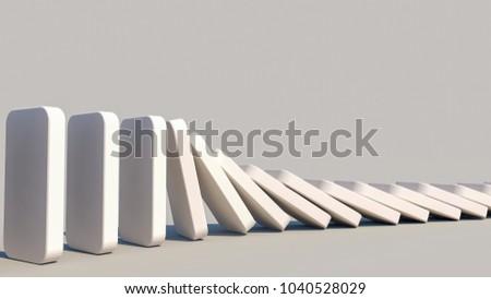 domino effect in action(3d rendering)