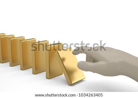 Domino effect man hand pushing the domino. 3D illustration. #1034263405