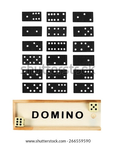 domino game in the wooden box