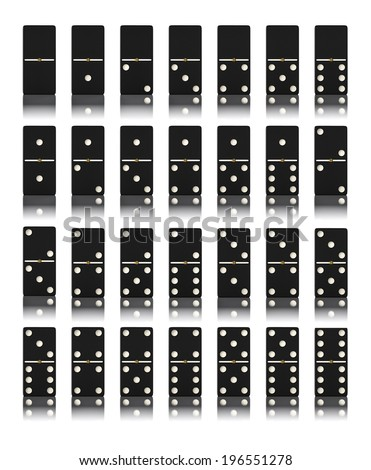 Domino game set isolated on white