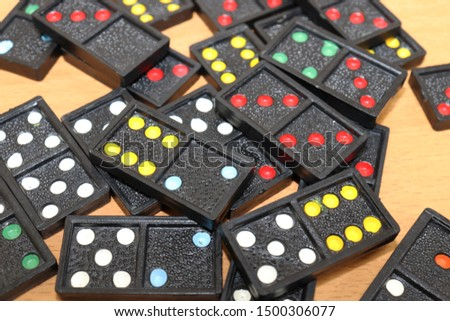 domino pieces on wood background   #1500306077
