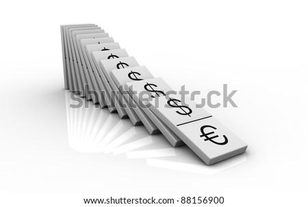 domino pieces with currencies symbols instead of numbers (3d render)