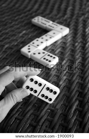 Dominoes Game in Black and White