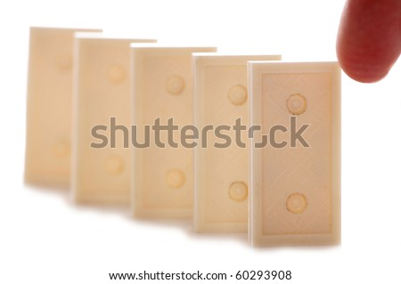 Dominos lined up studio cutout