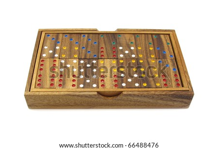 Dominos or dominoes set wooden colorful