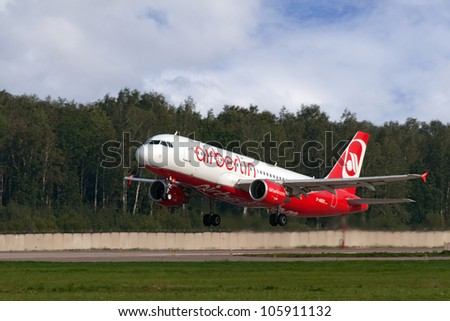 DOMODEDOVO, RUSSIA - SEPTEMBER 1: Aircraft operated by Air Berlin, taking off at Moscow airport in Domodedovo on September 01, 2011. The company in its fleet has 10 aircraft Airbus-A319