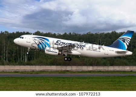 DOMODEDOVO, RUSSIA - SEPTEMBER 1: Aircraft operated by EgyptAir, taking off at Moscow airport in Domodedovo on September 01, 2011. The company in its fleet has 8 aircraft Airbus-A320