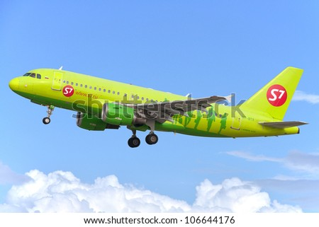 DOMODEDOVO, RUSSIA - SEPTEMBER 1: Aircraft operated by S7 Airlines, taking off at Moscow airport in Domodedovo on September 01, 2011. The company in its fleet has 20 aircraft Airbus-A319