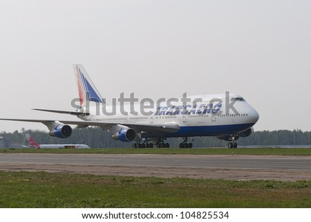 DOMODEDOVO, RUSSIA - SEPTEMBER 1: Aircraft operated by Transaero, taxis at Moscow airport in Domodedovo on September 01, 2011. The company in its fleet has 21 aircraft Boeing-747