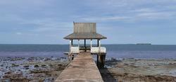 Dompak Island, Riau Islands, Indonesia, August 2020 : Low tide at Tanjung Siambang