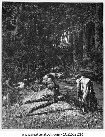 Don Quijote and Sancho drink from a stream - Picture from The History of Don Quixote book,  published in 1880, London - UK. Drawings by Gustave Dore.