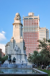 Don Quixote and Sancho Panza monument on Spain square in Madrid, Spain