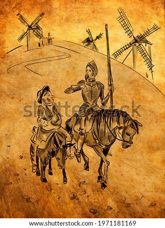 Don Quixote de la Mancha  is a middle-aged gentleman from the region of La Mancha in central Spain. Spanish novel by Miguel de Cervantes. Foto stock ©