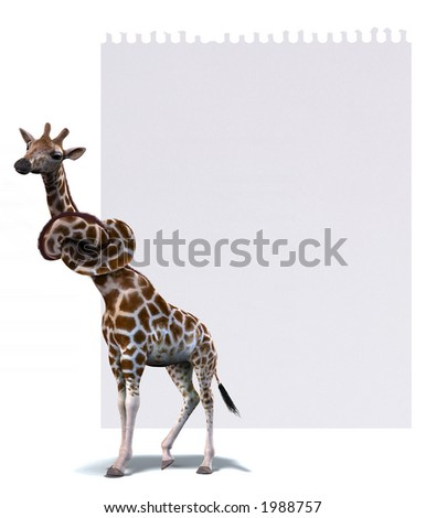 Don't forget note. A giraffe with the proverbial knot in the neck as a reminder