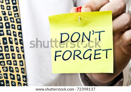 Don't forget post it in business man hand