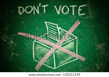 Don't vote concept; handdrawn ballot box on a green chalkboard