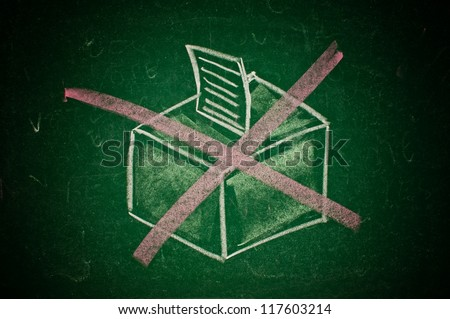 Don't vote on next elections concept, hand drawn ballot box on a green chalkboard